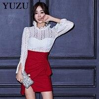 אדום שמלת אישה הסתיו ווג קפלים לבנים תחרה תפרים מפוצל משרד מיני מעצבי המפלגה שמלת Bodycon קצר שמלות יוקרה