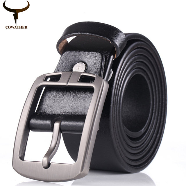 Cowather nuevo estilo vintage pin hebilla de vaca cinturones de cuero genuino para los hombres de alta calidad para hombre de la correa cinturones hombre envío libre