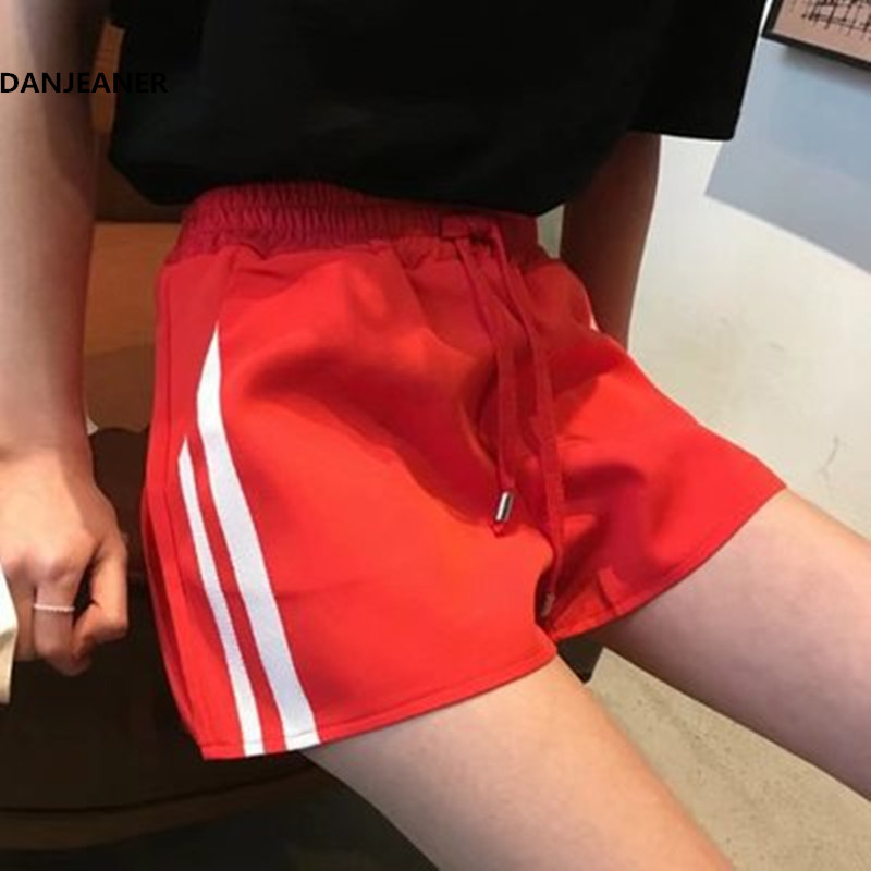 DANJEANER 2018 Summer Women Drawstring Sport   Shorts   Casual Wide Leg   Shorts   Female High Waist Loose Casual Street   Shorts