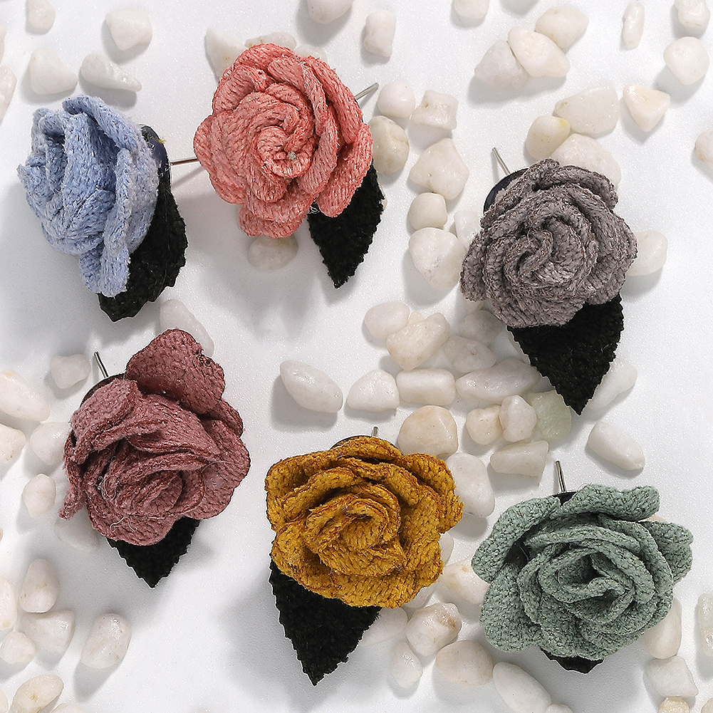 Trendy Korean Flower Leaf Cloth Stud Earrings for Women Bohemian Charm High Quality Colorful Temperament Gentle Earring Wedding in Stud Earrings from Jewelry Accessories