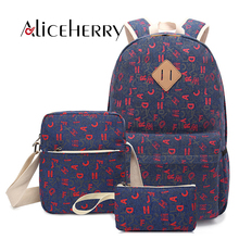 купить Canvas Printing Bookbag Women Backpack Fashion College School Bags For Teenagers Girls Rucksack Backpacks 3 Set дешево