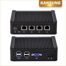 Мини Настольные ПК компьютер 4 гигабитным NIC 4 USB x86 Micro безвентиляторный Baytrail J1900 Quad Core Linux Ubuntu pfsense Firewall Мини-ПК