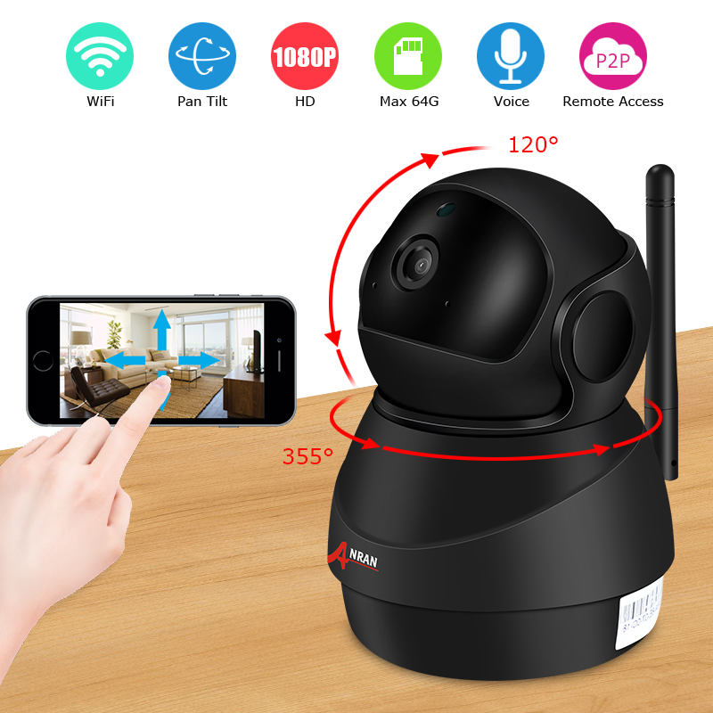 ANRAN 1080P IP Dome Camera Wireless 2MP HD Waterproof IR Night Vision Security Camera Smart Robot Indoor WIFI Camera NO/16GB HDD 4 in 1 ir high speed dome camera ahd tvi cvi cvbs 1080p output ir night vision 150m ptz dome camera with wiper
