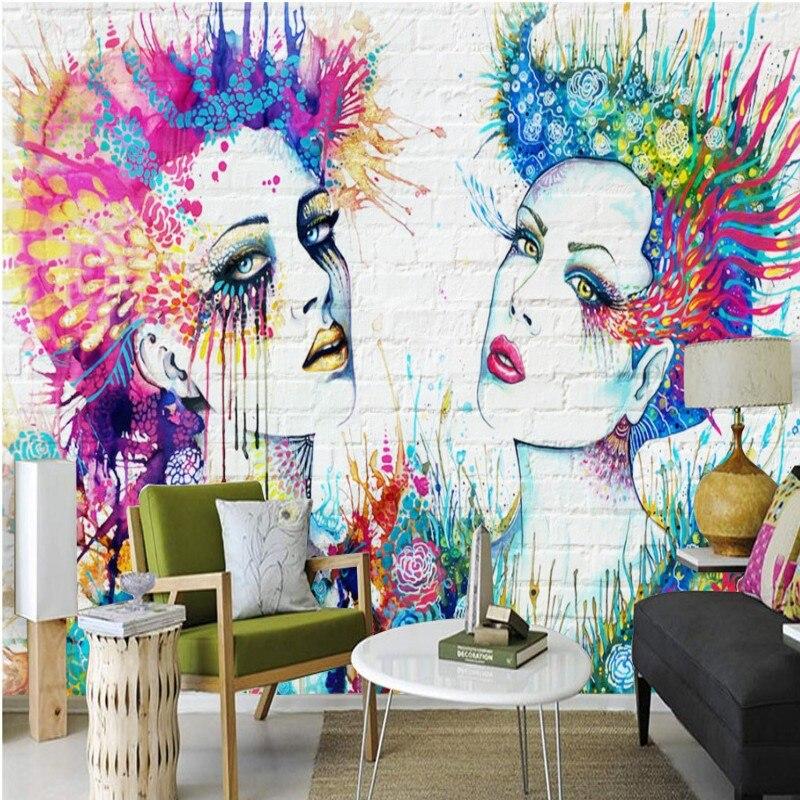 Custom 3d wallpaper Colorful dynamic fashion beauty brick wall shopping mall Bar Decoration Custom Wallpaper mural