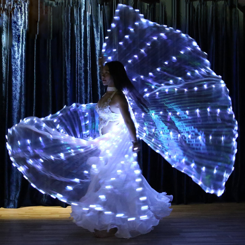 White Lights Performance Women Dance Wear Accessories Girls LED Wings Light Up Belly Dance Wing Back Slit 328pcs Lamps