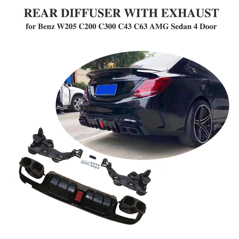 Rear Bumper Diffuser with Exhaust Tips for mercedes benz C Class W205 C200 C250 C300 C350 C400 C43 AMG C63 AMG S 14 19
