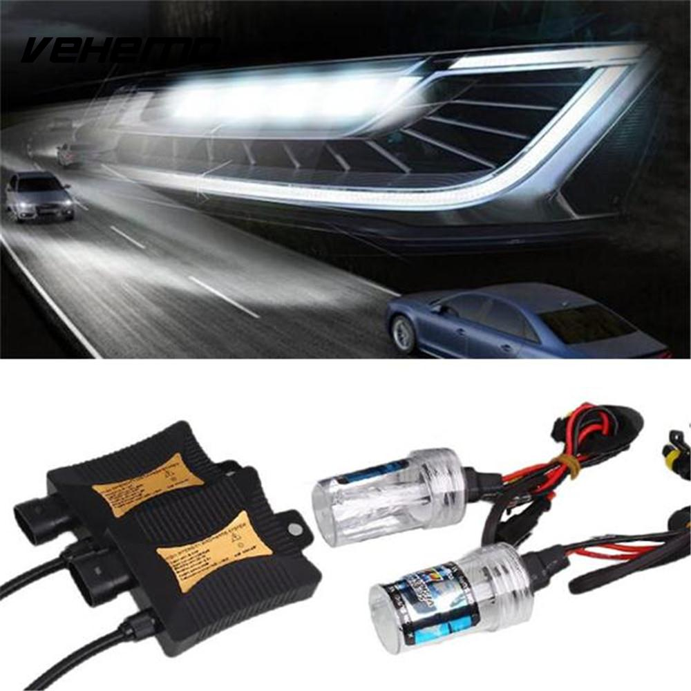 Vehemo 55W 8000K Xenon H7 HID Kit Car Auto Headlight Bulb Slim Ballast Slim Kit Waterproof Bright Universal 55 wsilver hid xenon kit slim ballast h11 8000k replacement headlight spare bulb [cpa226]