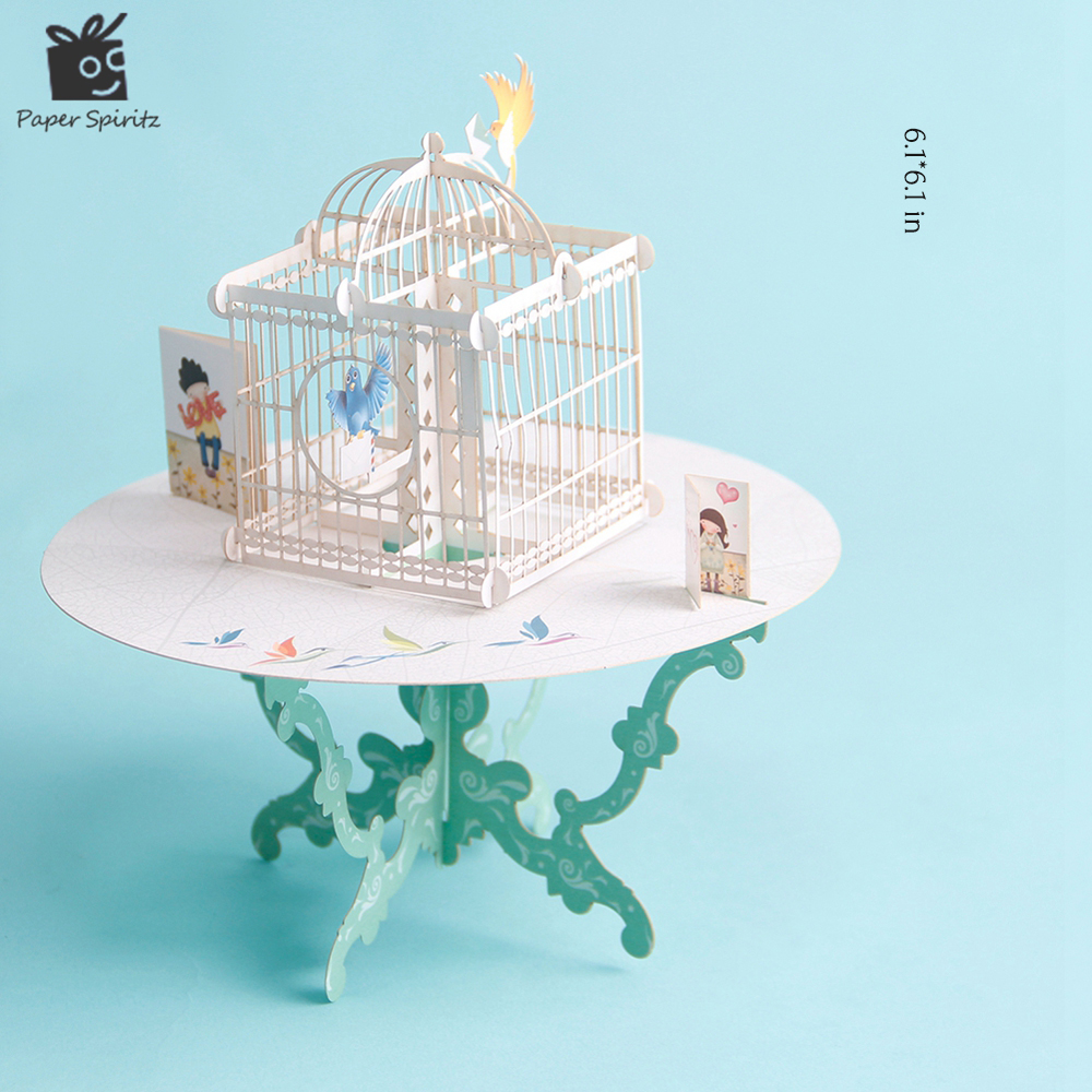 Birdcage Laser Cut 3D pop up paper laser cut crafts display custom Handmade Greeting Cards Happy Birthday Gifts Postcards 7006 3d pop up the god of wealth creative gifts for birthday post card greeting cards holiday 1411r
