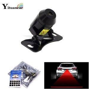 Yituancar Wholesale 1Pcs LED Car Laser Fog Light Rear Anti-Collision Driving Safety Signal Red Line Warning Brake Parking Lamp(China)