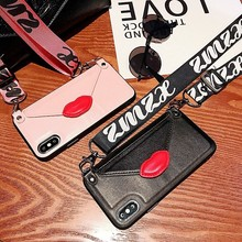 Wallet card leather shoulder strap phone case For iPhone Xs MAX Xr X 7 8 6 6splus Red lips Envelope Card package back cover