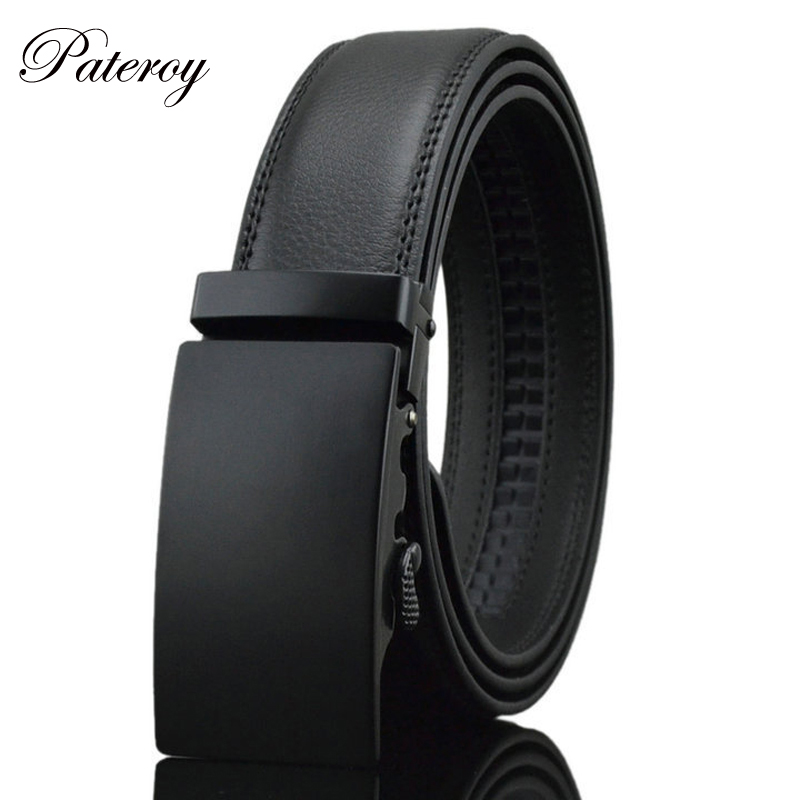 PATEROY Luxury Business Casual Belt Man Black Brown Genuine Leather Belts For Jeans Automatic Buckle Strap Belt Cintos
