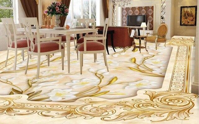 Marmer Vinyl Vloer : Custom 3d vloeren lelie rose marmer mozaïek 3d vloer muurschildering