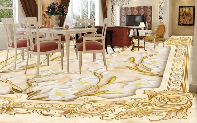 Custom 3d Floors Lily Rose Marble Mosaic Floor Mural Wallpaper Pvc Vinyl Flooring Waterproof