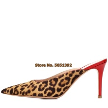 цена на Women High Thin Heel Pointed Toe Sandals Summer Fashion Sexy Leopard Slippers Stiletto Heel Shoes