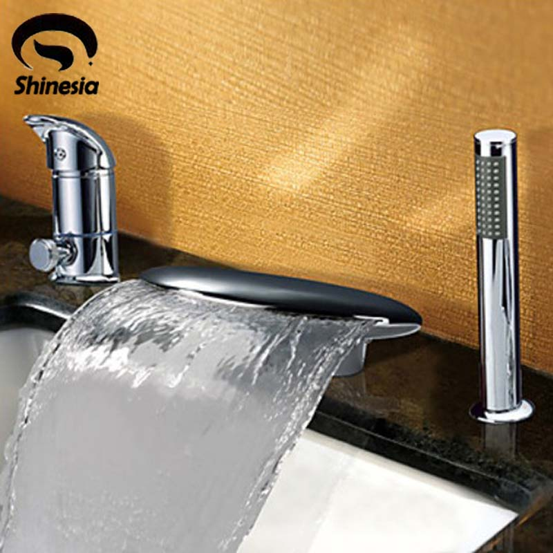 Contemporary Chrome Finish Widespread Waterfall Tub Faucet Mixer W/Hand Shower