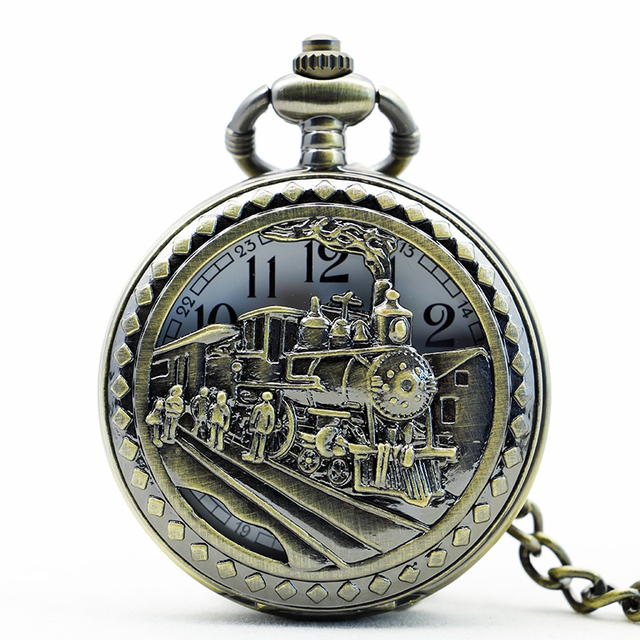 PB086 New Arrive High Quality Antique Clock necklace chain Big Size Bronze Train Head Pocket Watch With Chain