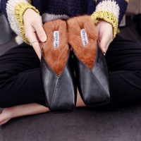 Mules shoes designer women flipflop Footwear Flat Suede fur slippers low heels famous brand slides warm winter shoes fur sandals
