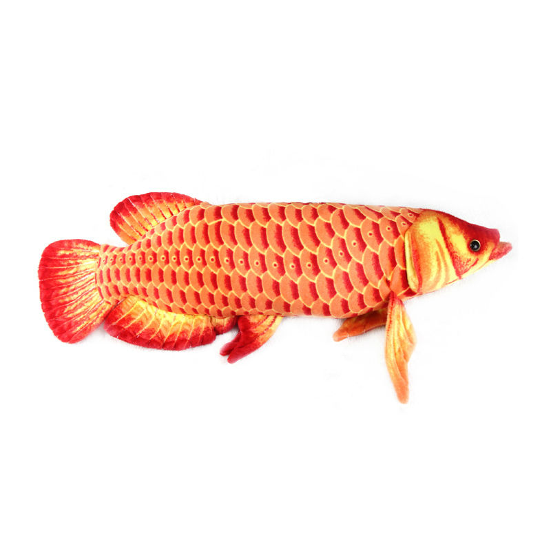 Gold Arowana 67CM Red Color plush big fish cartoon plush toys stuffed animals cushion toys for kids long pillow Christmas gifts