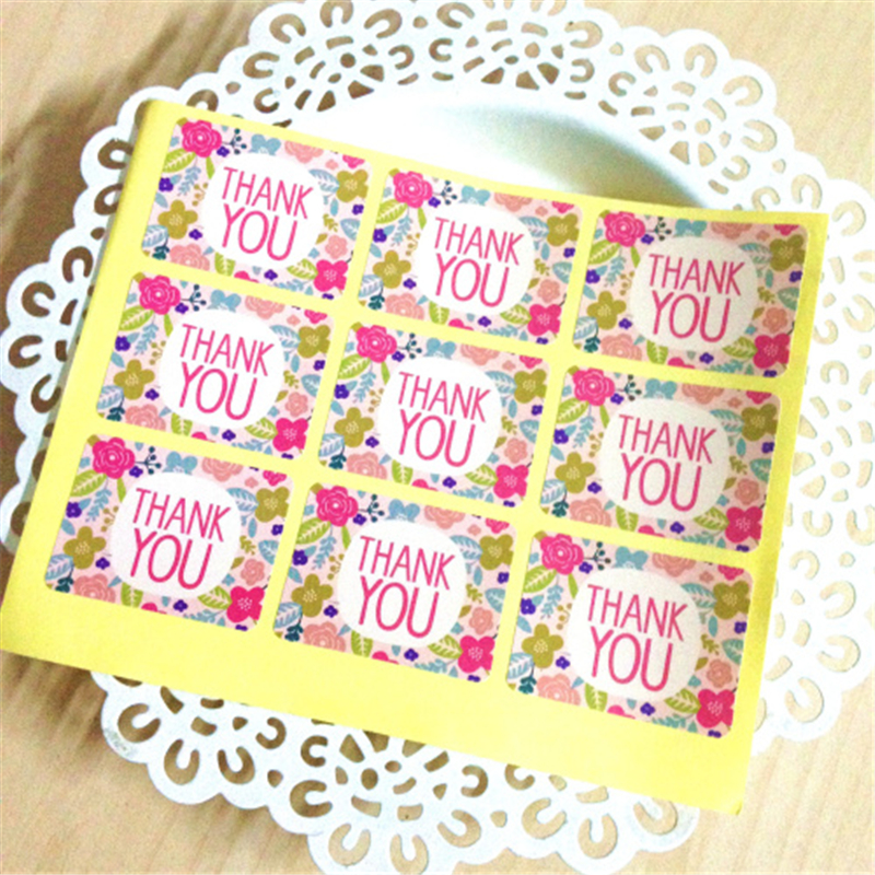 Hand Made Bakery Flower Thank You Gift Baking Bottle Packaging Handmade Cake Box Cookie Seal Sealing Sticker Label favors bag