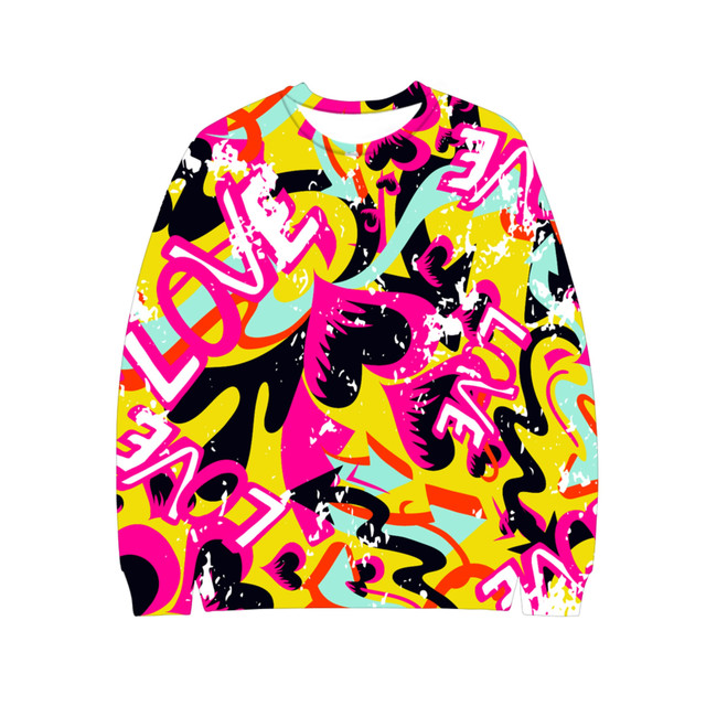 80b1cfa2e New Trendy Graffiti Sweatshirt 3D Print Ms Round Neck Hoodie 2018  Sweatshirt Hoodies Casual Ms Clothing