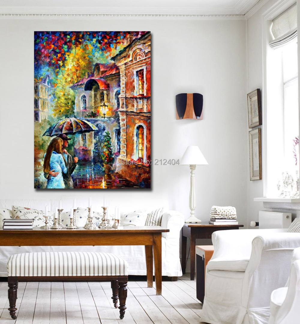 Wonderful Rainy Kiss Modern Living Room Wall Painting Printed On Canvas Frameless  Color Palette Picture For