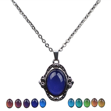 Emotion Color Change Mood Pendant Feeling Gem Vintage Necklace Stainless Steel Chain Smart Jewelry