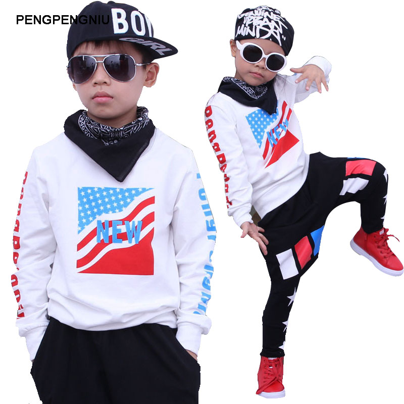 PENGPENGNIU Teenage Boys Clothing Set Autumn Spring 2017 Kids Dancewear Children's Street Dance Costume Size 5 to 16 Years Old 2017 new boys clothing set camouflage 3 9t boy sports suits kids clothes suit cotton boys tracksuit teenage costume long sleeve
