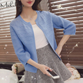 Autumn spring summer womens sweet solid color long sleeve short all-match loose sweater cardigan shawl coat  S-85