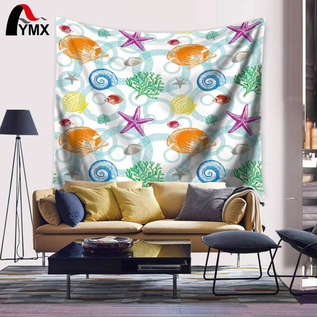 Buy Mix Star Fish Shell Snails Pictures Tapestry 200CM Wall Hanging for Living Room Bedroom Dorm Decor Mandala Blanket Tapete
