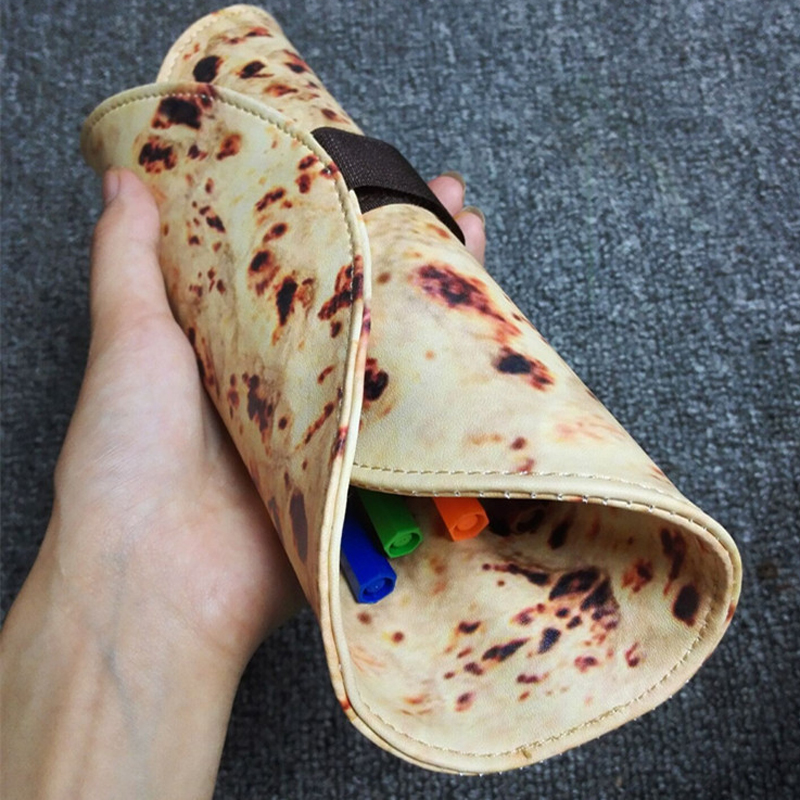 Creative Simulation Indian Flying Pie Pencil Bag Funny Pencil Case PU Leather Food Pen Bag Stationery Gift School Supplies