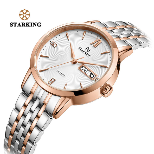 STARKING Top Brand Stainless Steel Bracelet Watch Women Luxury Quartz Auto Date