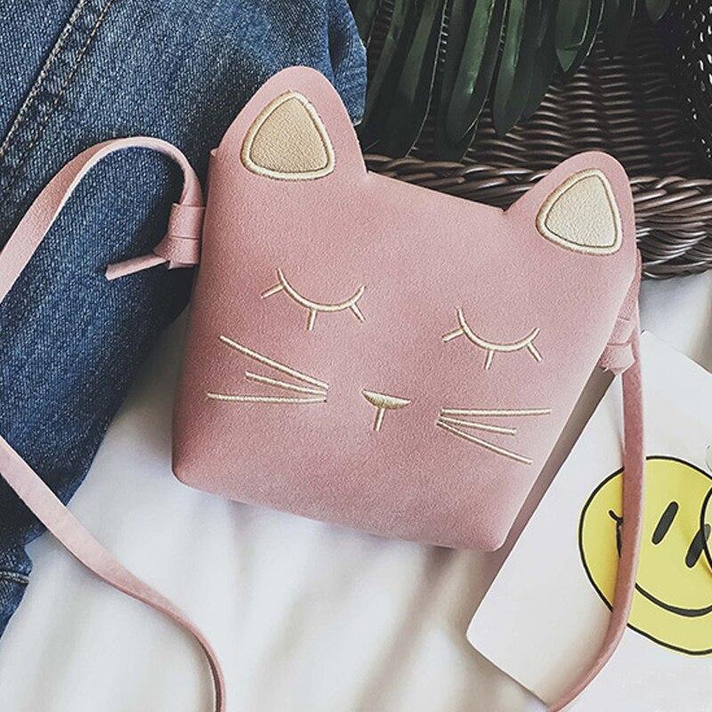 Cute Cat Girls Purse handbag Children Kid Cross-body shoulder bag Christmas Gift, Pink
