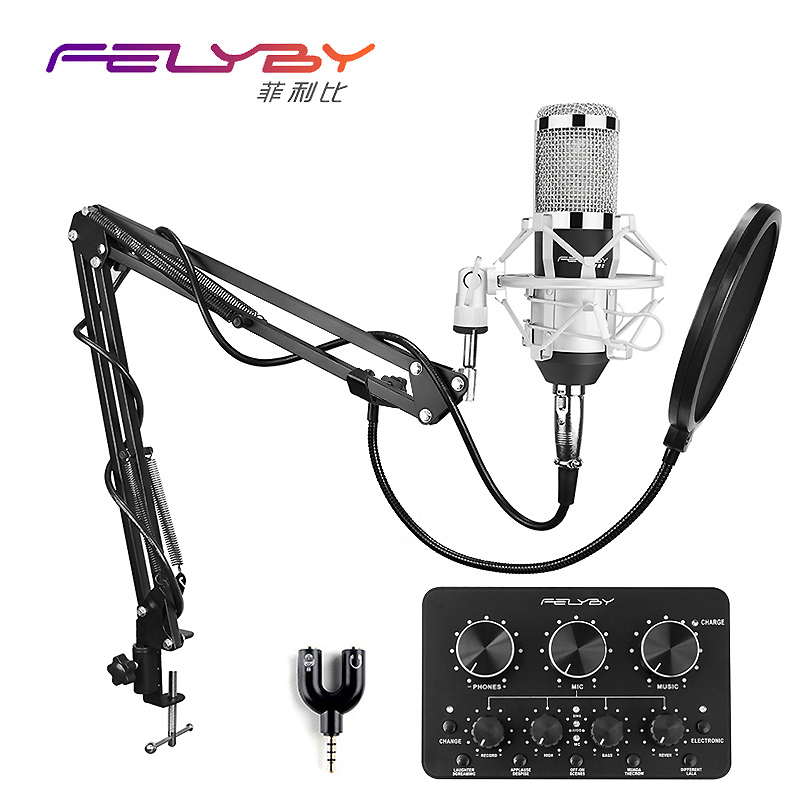HOT! FELYBY bm 800 condenser microphone for computer recording & high quality microphone set with Multi-function live sound card felyby professional live condenser microphone for computer and phone bm 800 karaoke microphone multi function live sound card