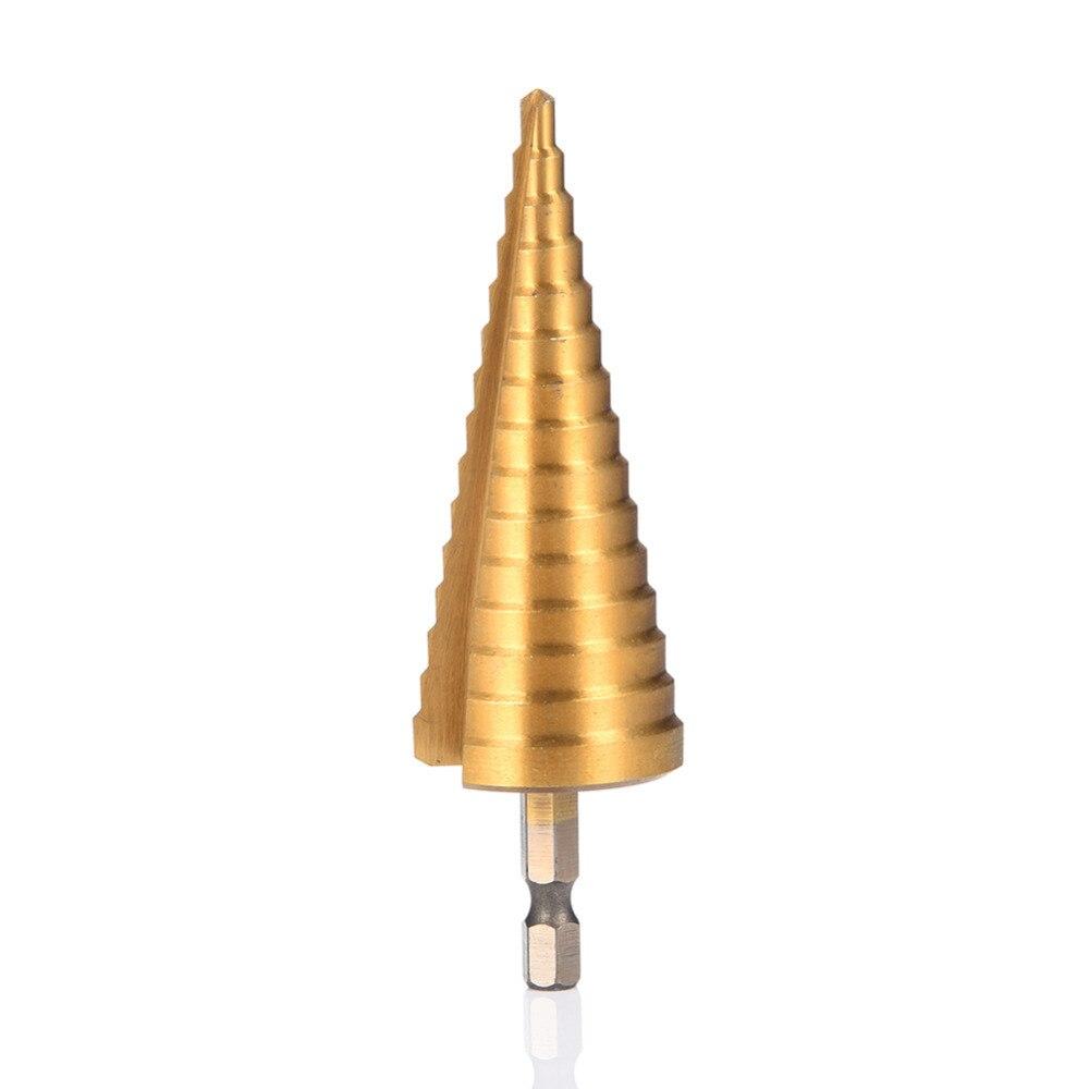 4 - 32 mm Hexagonal Titanium Step Cone Drill Bit Hole Cutter  HSS4241 Stepped Drill For Sheet Metal