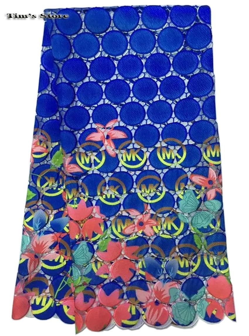 Wysokiej jakości afryki gipiury szwajcarski kabel koronki tkaniny na sukni, nigerii, rozpuszczalny w wodzie koronki druku 5y/lot A SL236 w Koronka od Dom i ogród na  Grupa 1