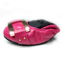 Leather Folding Flat Shoes With Shallow Mouth Sweet Flat Shoes