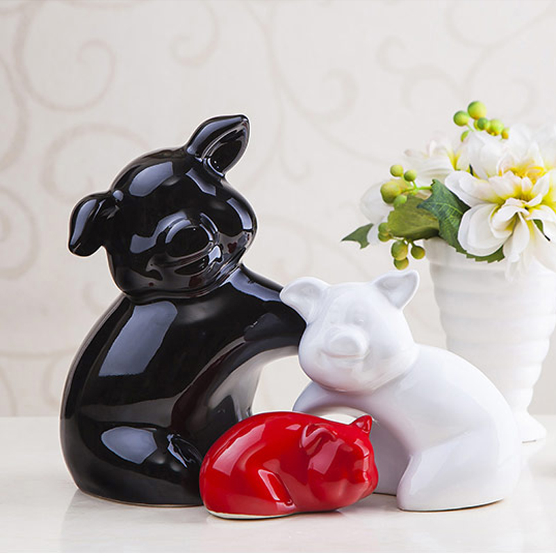 Ceramic pig ornaments creative wedding gift living room wine cabinet decor crafts home decoration furnishings auspicious 3 pigs in Figurines Miniatures from Home Garden