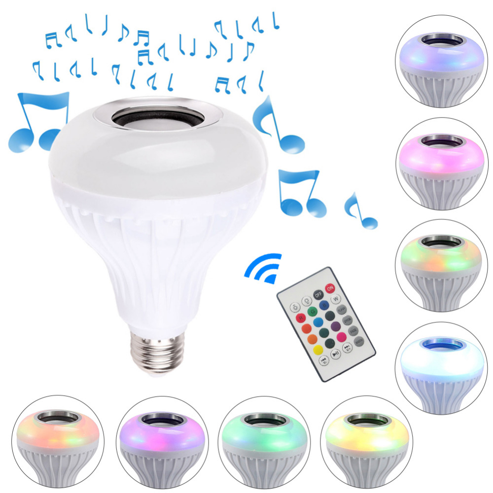 Smart E27 RGB Bluetooth Speaker LED Bulb Light 12W Dimmable Wireless Music Playing Leds Lamp with 24 Keys Remote Control newstyle portable wireless audio bluetooth speaker music playing e27 dimmable led light bulb lamp with rf remote control brightness adjustable and volume up down for smartphones tablets pcs and other bluetooth enabled devices