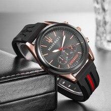e059f2780c898 2019 الفاخرة العلامة التجارية ل فيراري الرجال سيليكون حزام الساعات الأزياء  الرياضية عارضة الكوارتز ساعة اليد