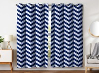 HommomH Curtains (2 Panel) Grommet Top Darkening Blackout Room Simple Modern Art Design Chevron Blue Wave