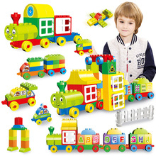 60-77PCS Big Size Numbers Train Building Blocks Bricks Educational City Toys For Children Compatible With Legoly Duploly Blocks все цены