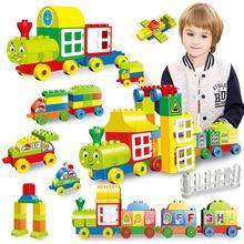 60-77PCS Big Size Numbers Train Building Blocks Bricks Educational City Toys For Children Compatible With Legoly Duploly Blocks цены
