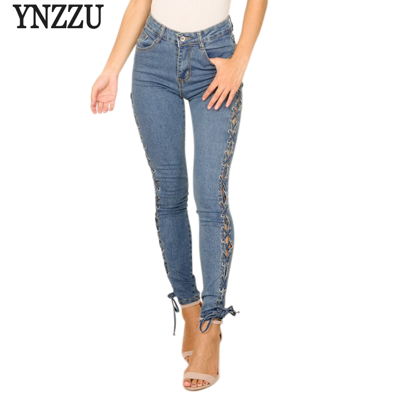 YNZZU New Fashion Autumn Women Jeans 2017 Casual High Waist Side Lace Up Skinny Female Pencil Pants Denim Trousers YB159 women jeans autumn new fashion high waisted boyfriend street style roll up bottom casual denim long pants sp2096