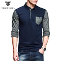 New Men's Brand Fashion Polo Shirts, Stylish Casual Patchwork Polo with Long Sleeve, High Quality Polo Shirts For Men 6098