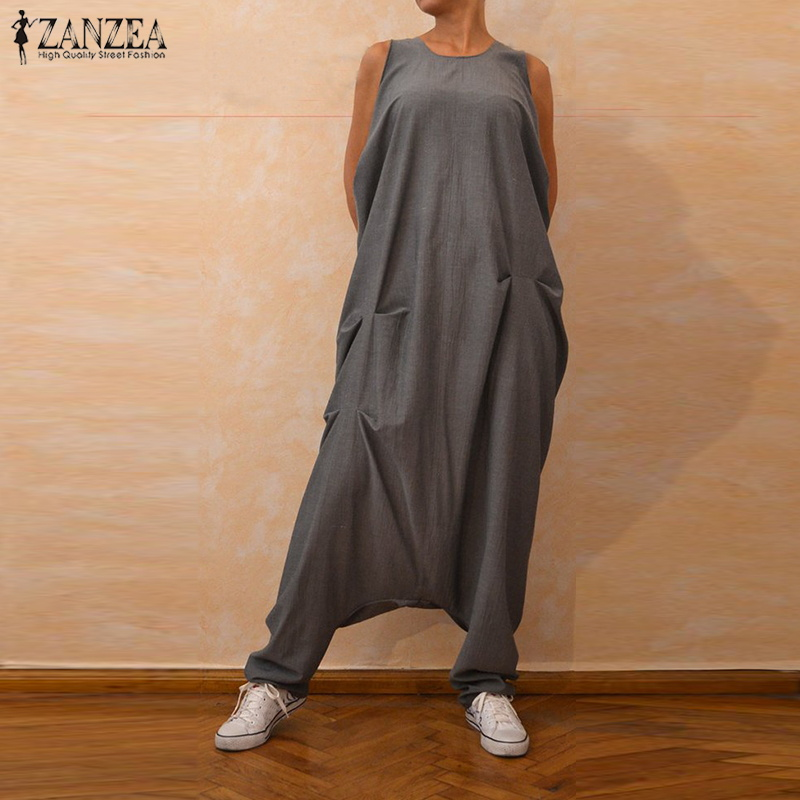 ZANZEA Plus Size Overalls Women Jumpsuits Sleeveless Baggy Harem Pants Female Drop Crotch Playsuits Combinaison Femme Trousers