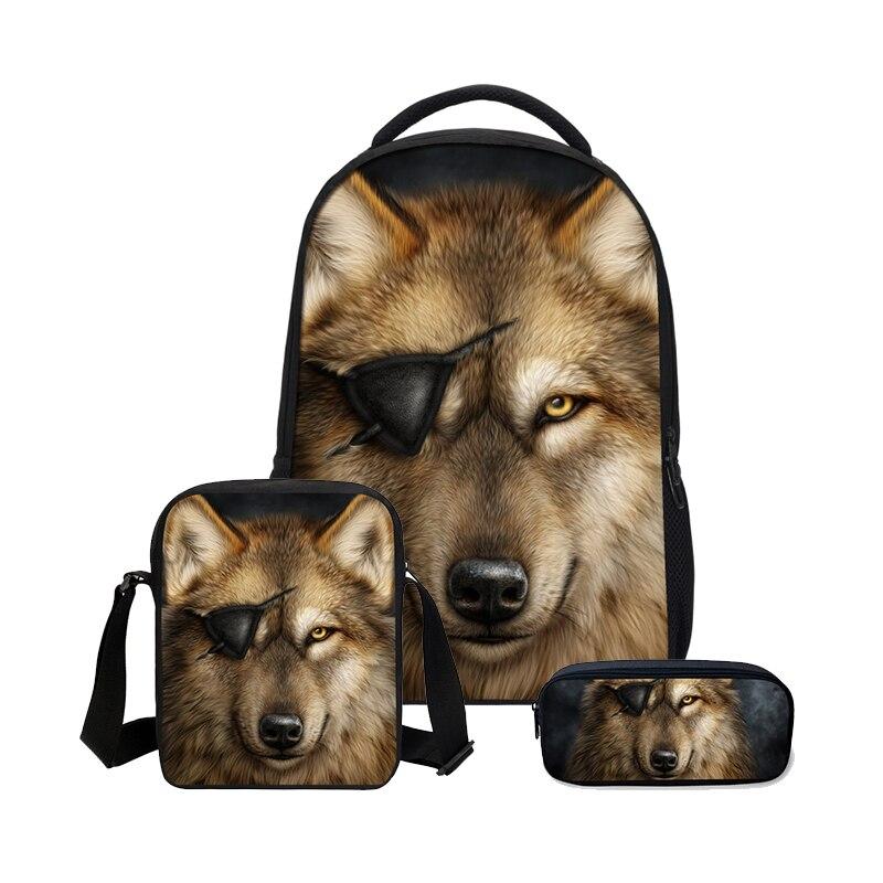 3Pcs/Set Portfolio School Bag For Boys Girls Fashion Cool Animal Wolf 3D Printing Bookbag Plecak Casual Daypacks Mochila Escolar3Pcs/Set Portfolio School Bag For Boys Girls Fashion Cool Animal Wolf 3D Printing Bookbag Plecak Casual Daypacks Mochila Escolar