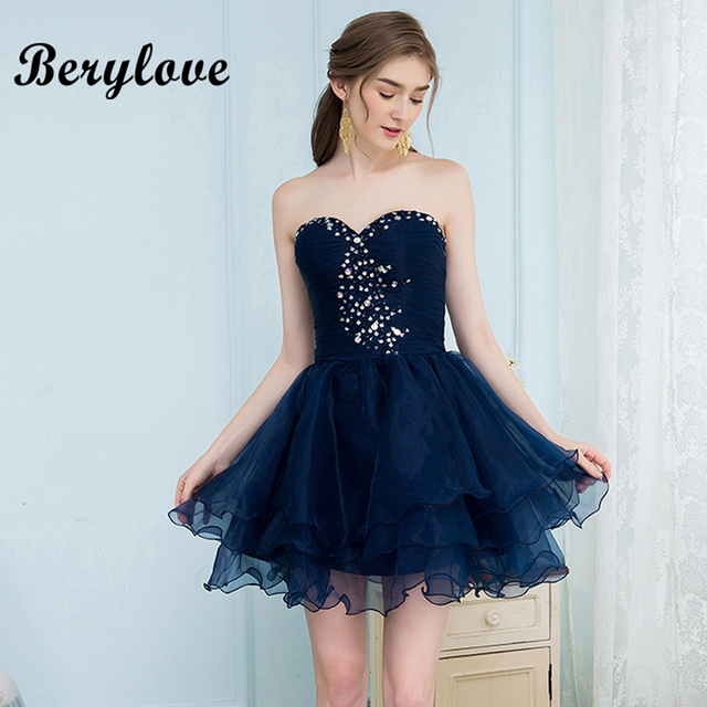 afdb4a447ea64 BeryLove Short Navy Blue Homecoming Dresses 2018 Mini Beaded Strapless Homecoming  Dress Short Prom Dresses Graduation Dress