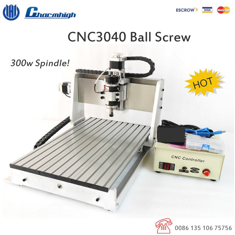 Discount Ball Screw 3 Axis Desktop Cnc3040 300w Spindle