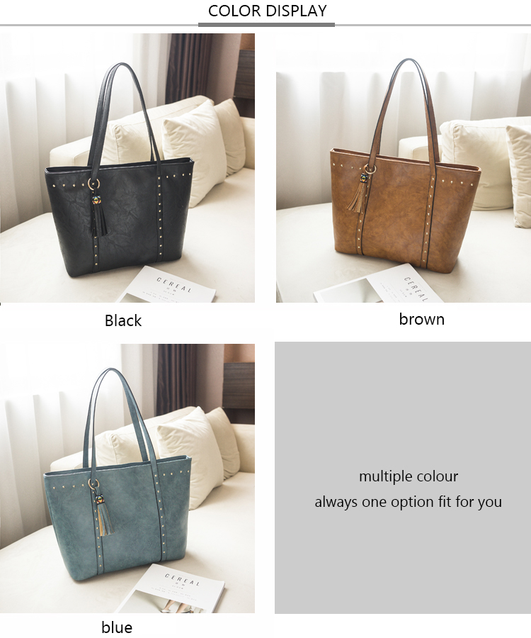 Rivet Leather Women Tote Handbag 21