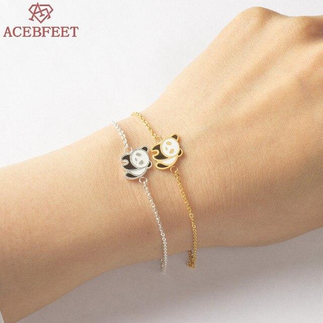 Acebfeet Enamel Panda Charm Bracelet Femme Animal Jewelry Silver Pulseras Mujer Moda 2018 Fiendship Gold Ketting